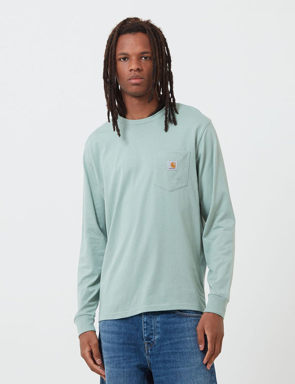 Carhartt-WIP Pocket Long Sleeve T-Shirt - Frosted Green