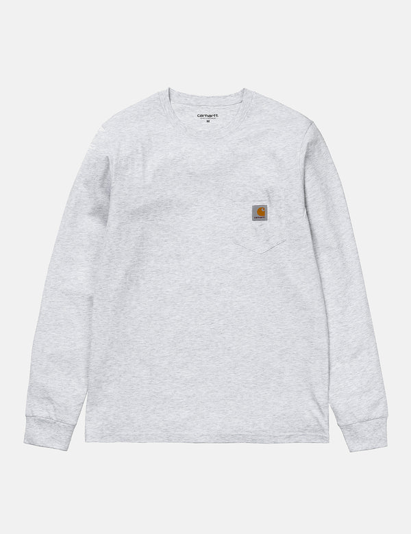 Carhartt-WIP Pocket Long Sleeve T-Shirt - Ash Heather Grey