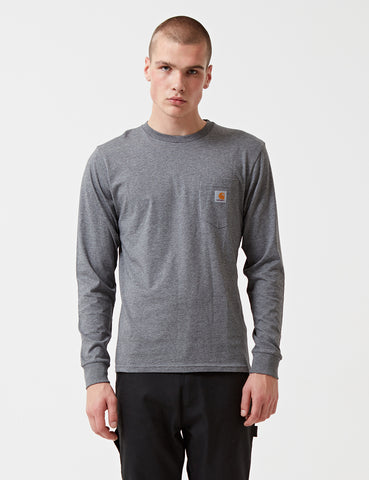 Carhartt Pocket Long Sleeve T-Shirt - Dark Grey