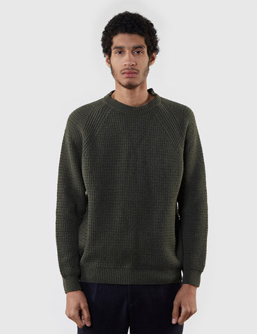 Edwin Purl Ecojean Knit Jumper - Uniform Green