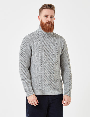 Edwin United Knit Roll Neck Jumper - Grey