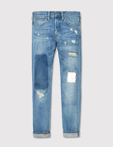 Edwin ED-55 Rainbow Selvage Jeans 12.8oz (Regular Tapered) - Pulled Wash