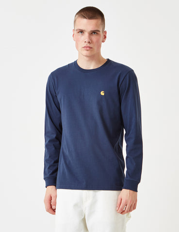 Carhartt Chase Long Sleeve T-Shirt - Dark Navy