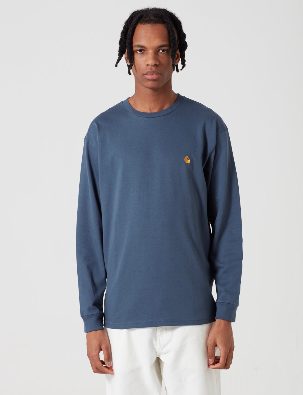 Carhartt Chase Long Sleeve T-Shirt - Stone Blue