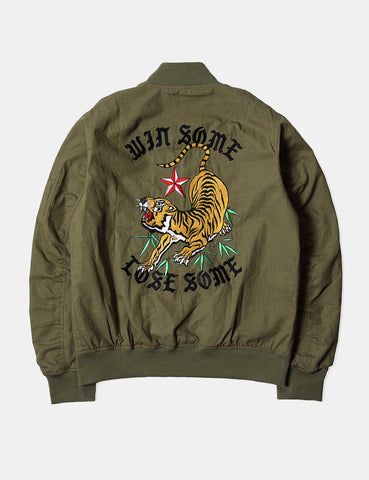 Edwin Flight Souvenir Bomber Jacket - Military Green