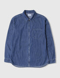 Edwin Demo Zip Denim Shirt (Bleach Washed) - Blue