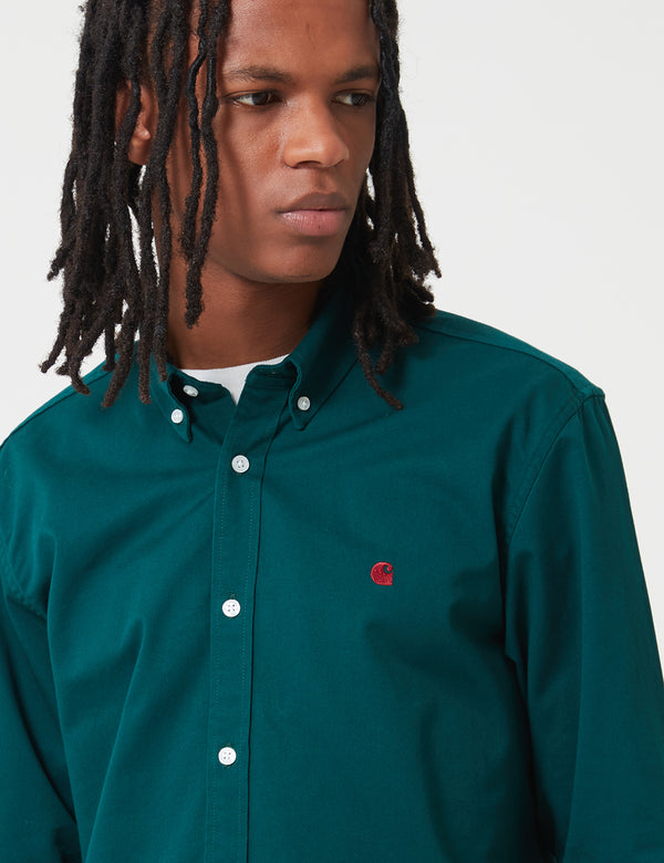 Carhartt-WIP Madison Shirt - Dark Fir Green / Merlot Red