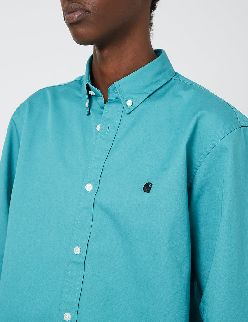 Carhartt-WIP Madison Shirt - Frosted Turquoise/Black