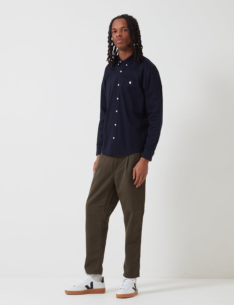 Carhartt-WIP L/S Madison Shirt - Dark Navy/Wax
