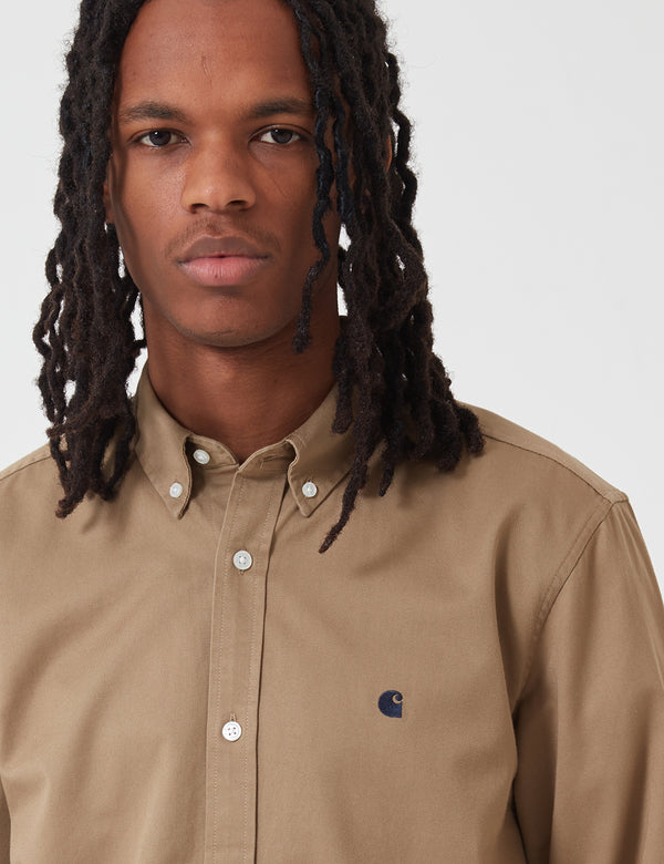 Carhartt-WIP L/S Madison Shirt - Khaki Leather
