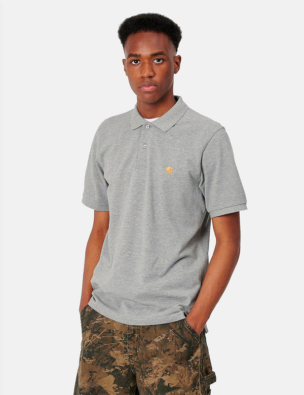 Carhartt-WIP Chase Pique Polo - Grey Heather/Gold