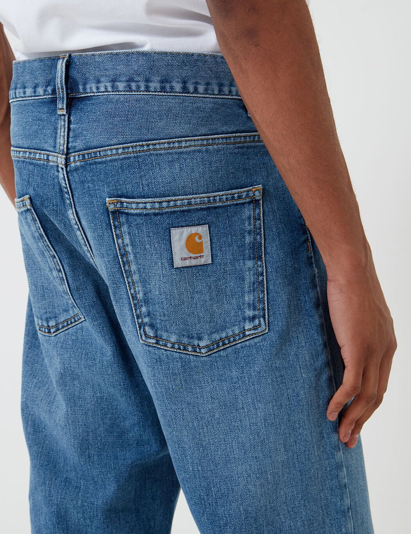 Carhartt-WIP Newel Denim Pant (Relaxed Tapered) - Blue, Worn Bleached