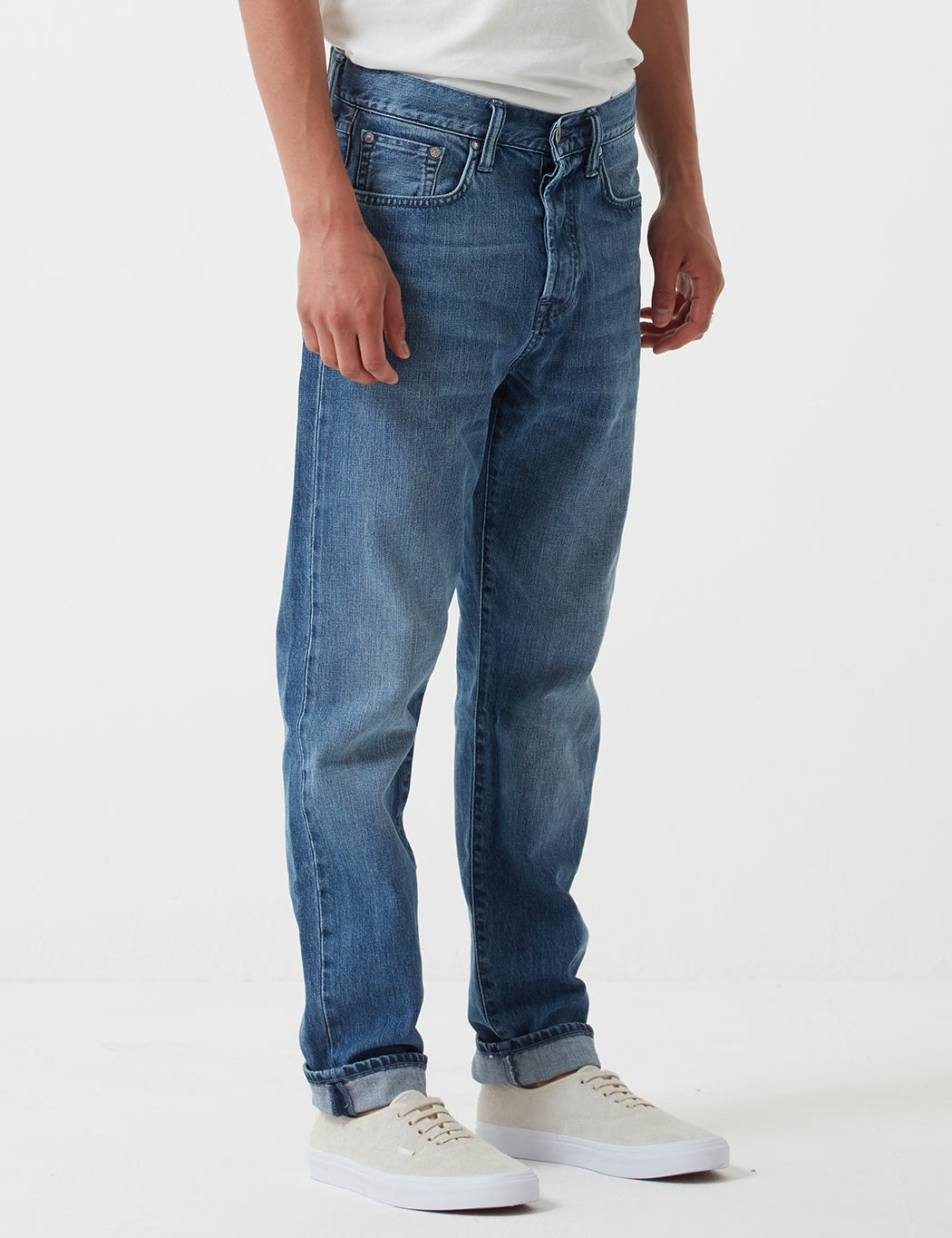5a91430a ... Edwin ED-45 Kingston Blue Denim Jeans 12oz (Loose Tapered) - Blue Rinsed  ...