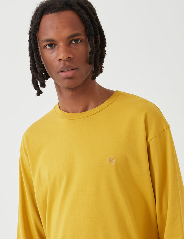 Carhartt-WIP Chase Long Sleeve T-Shirt - Colza Yellow