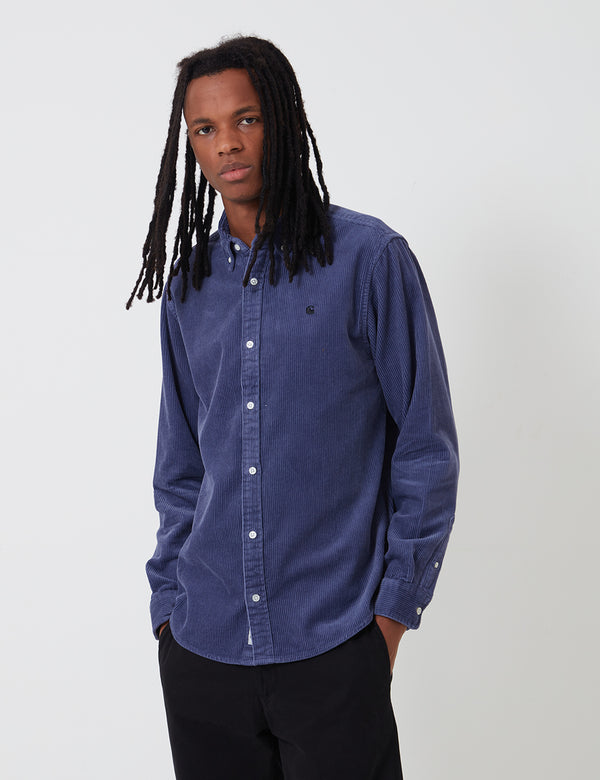 Carhartt-WIP Madison Cord Shirt - Cold Viola/Black