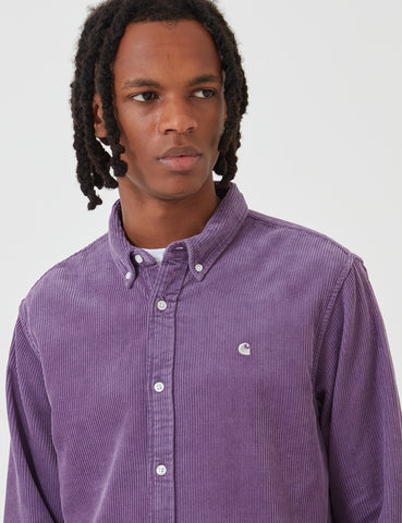 Carhartt-WIP Madison Cord Shirt - Dusty Mauve / Cinder