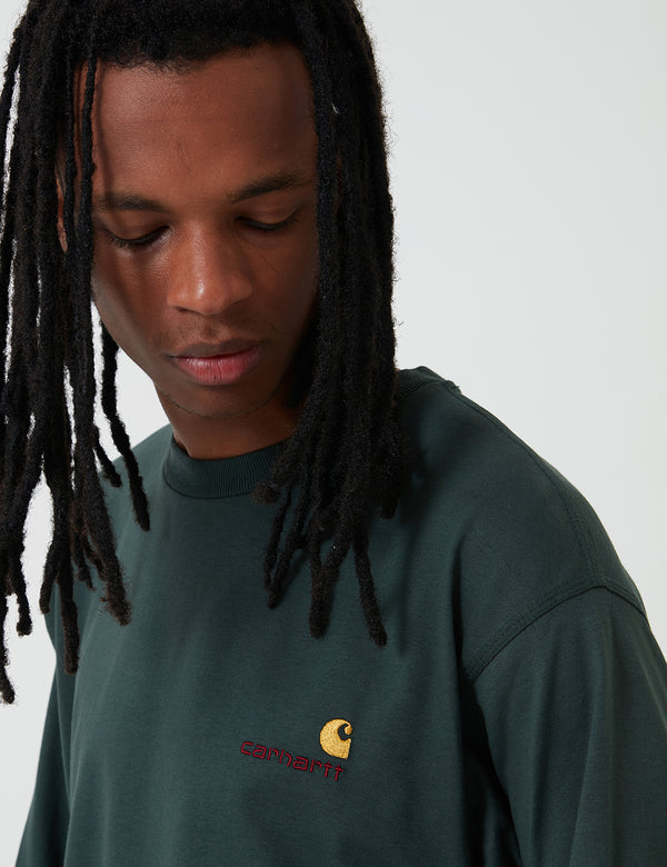 Carhartt-WIP American Script Long Sleeve T-Shirt - Dark Teal