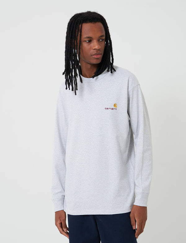 Carhartt-WIP American Script Long Sleeve T-Shirt  - Ash Heather