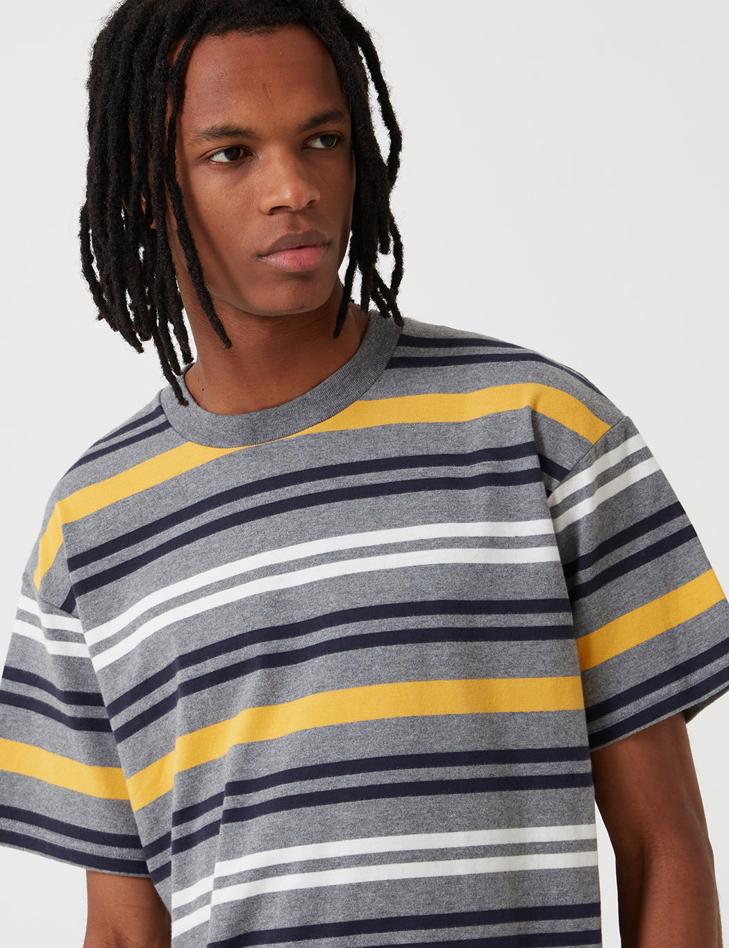 Carhartt-WIP Short Sleeve Kress Stripe Shirt - Dark Grey Heather