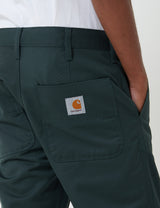 Carhartt-WIP Abbott Pant (Denison Twill, 8.8 oz) - Dark Teal rinsed