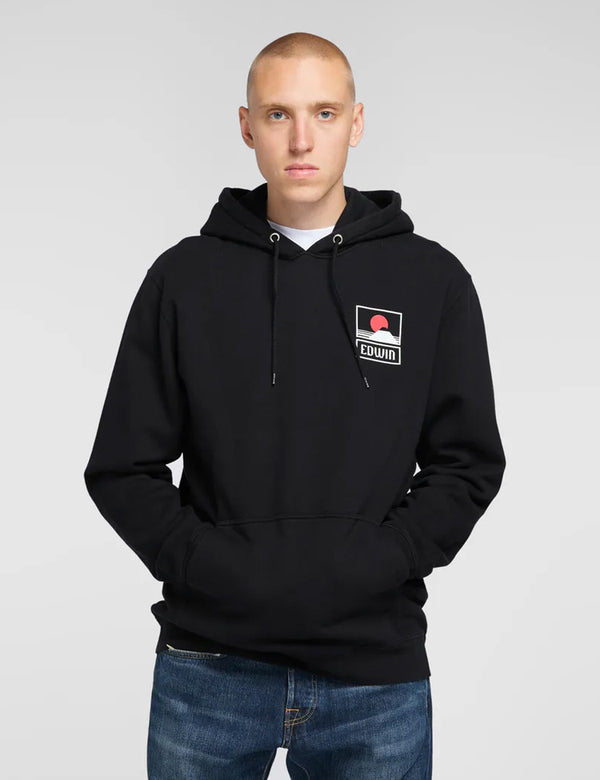 Edwin Sunset on MT Fuji Hoodie - Black
