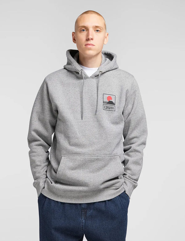 Edwin Sunset on MT Fuji Hoodie - Mouliné Grey