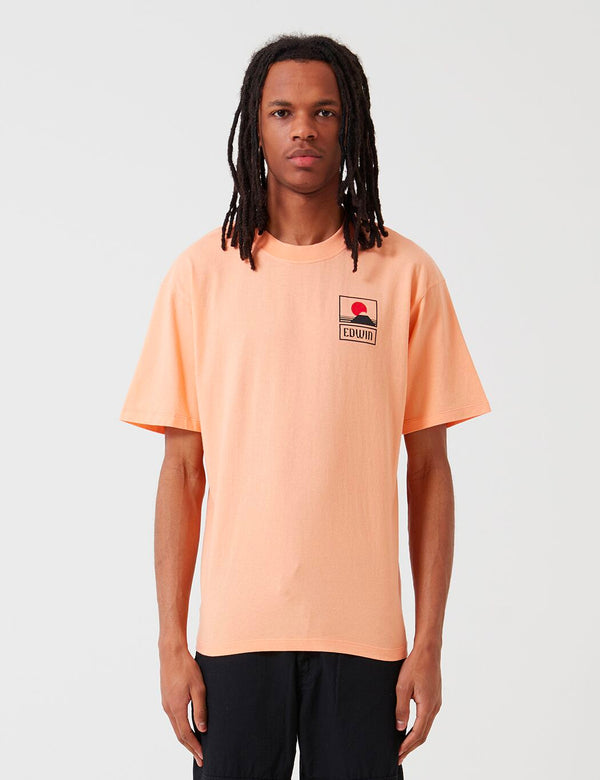 Edwin Sunset On Mt. Fuji T-Shirt - Cantaloupe