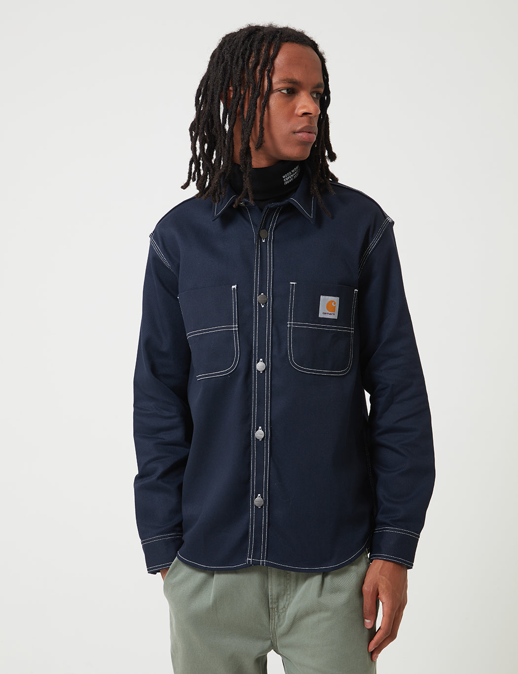 good quality performance sportswear wholesale Carhartt-WIP Chalk Shirt Jacket (Regular Fit) - Dark Navy