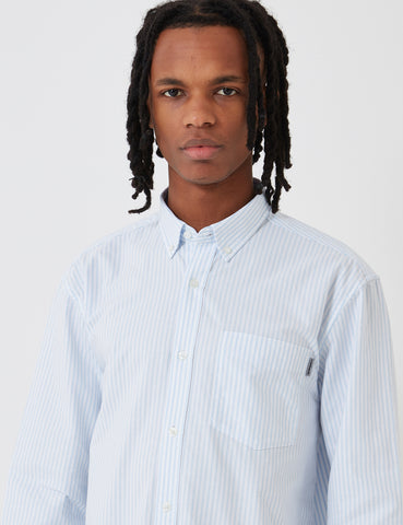 Carhartt Karev Stripe Shirt - Bleach Blue