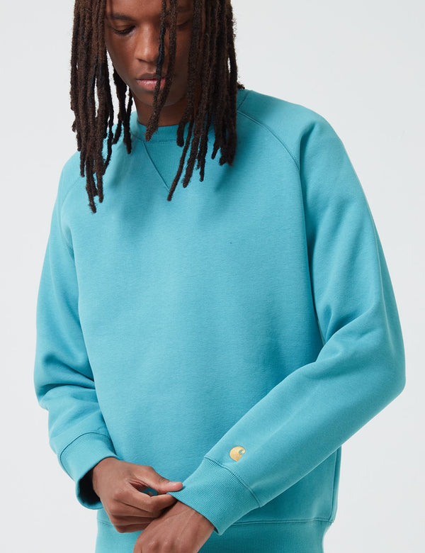 Carhartt-WIP Chase Sweatshirt - Frosted Turquoise/Gold