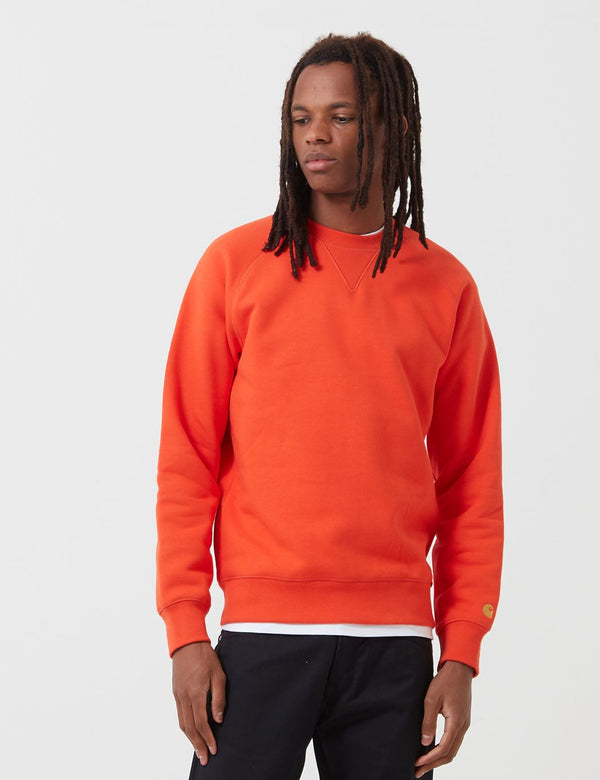Carhartt-WIP Chase Sweatshirt - Safety Orange/Gold