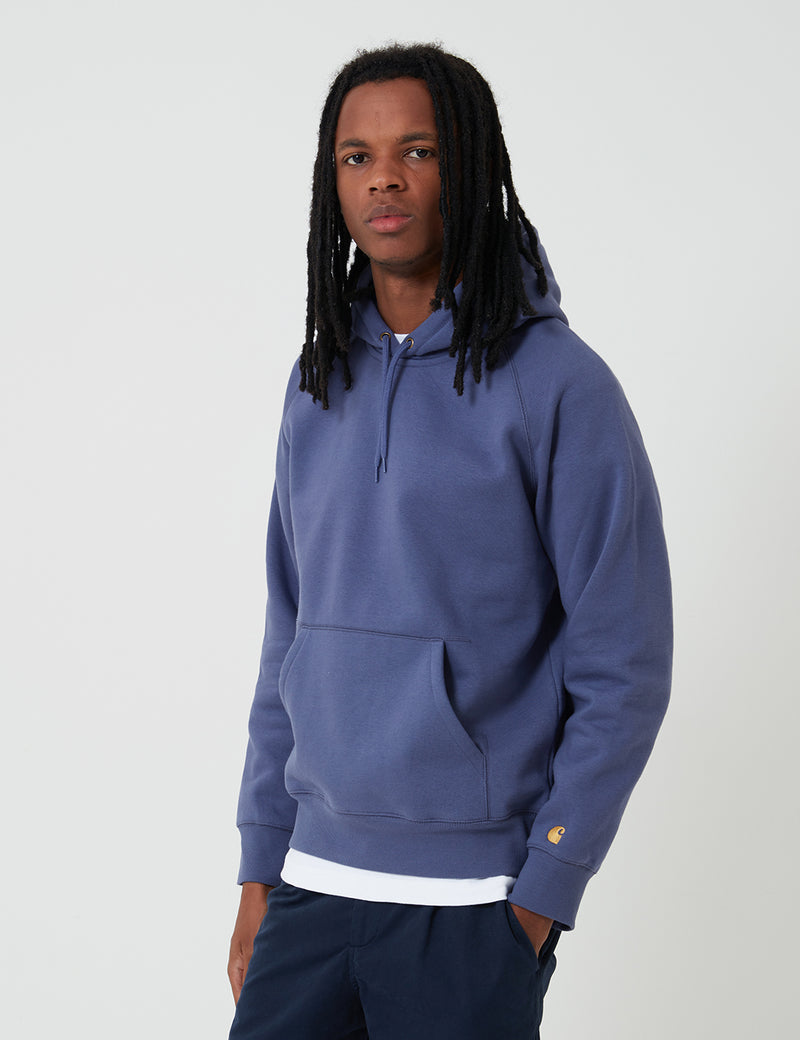 Carhartt-WIP Hooded Chase Sweatshirt - Cold Viola/Gold