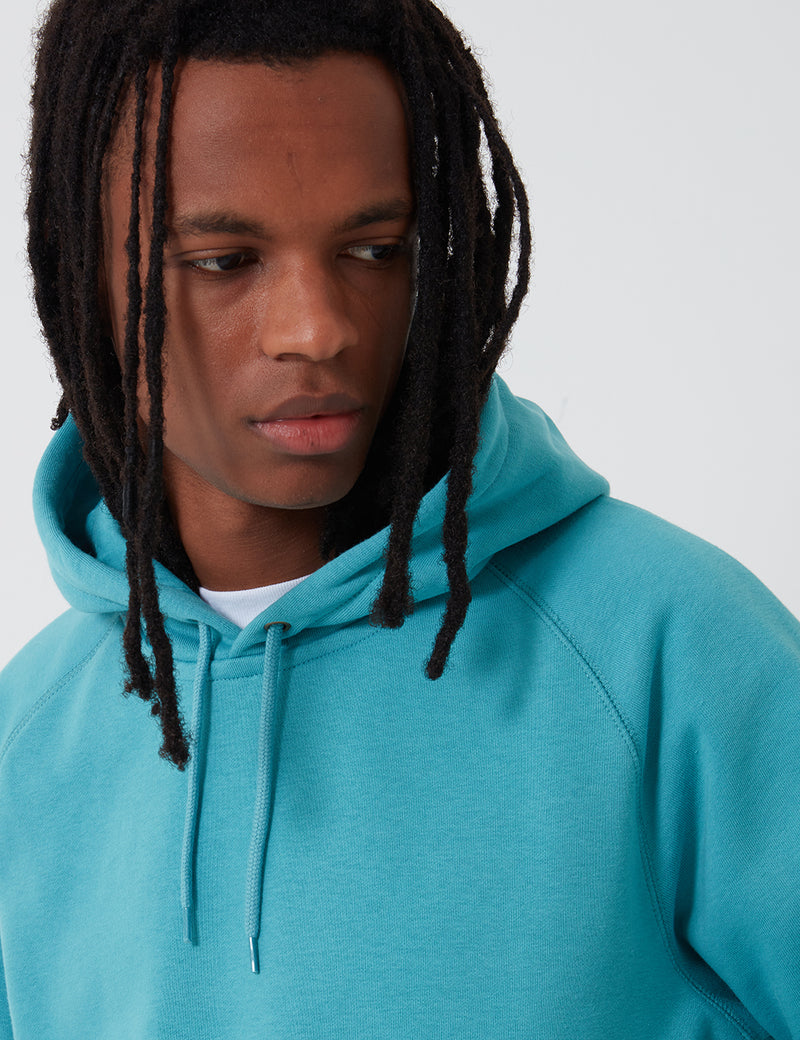 Carhartt-WIP Hooded Chase Sweatshirt - Frosted Turquoise/Gold