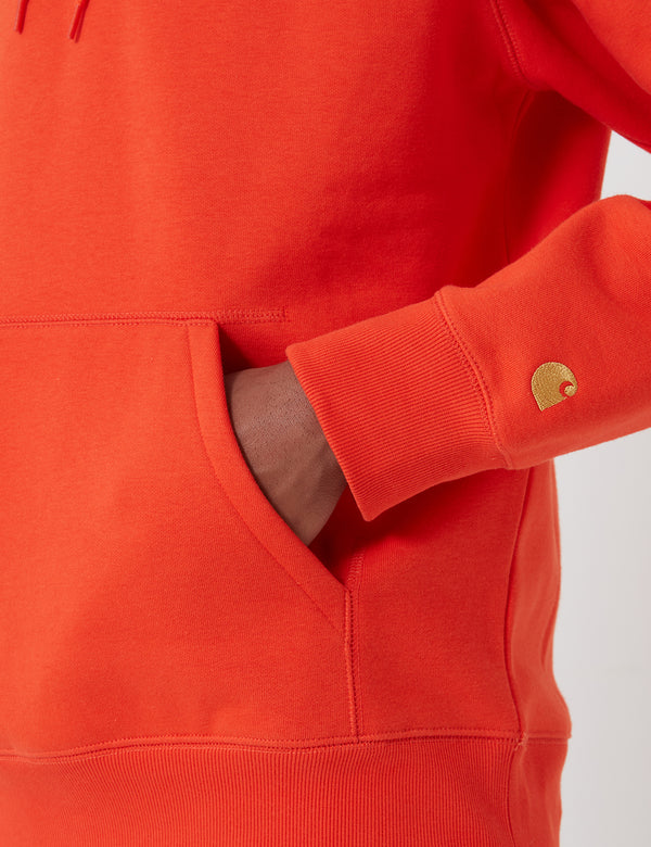 Carhartt-WIP Hooded Chase Sweatshirt - Safety Orange/Gold