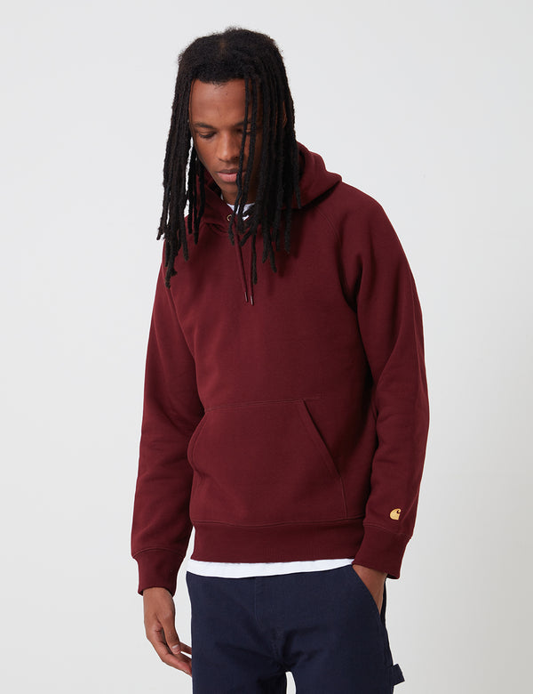 Carhartt-WIP Hooded Chase Sweatshirt - Bordeaux/Gold
