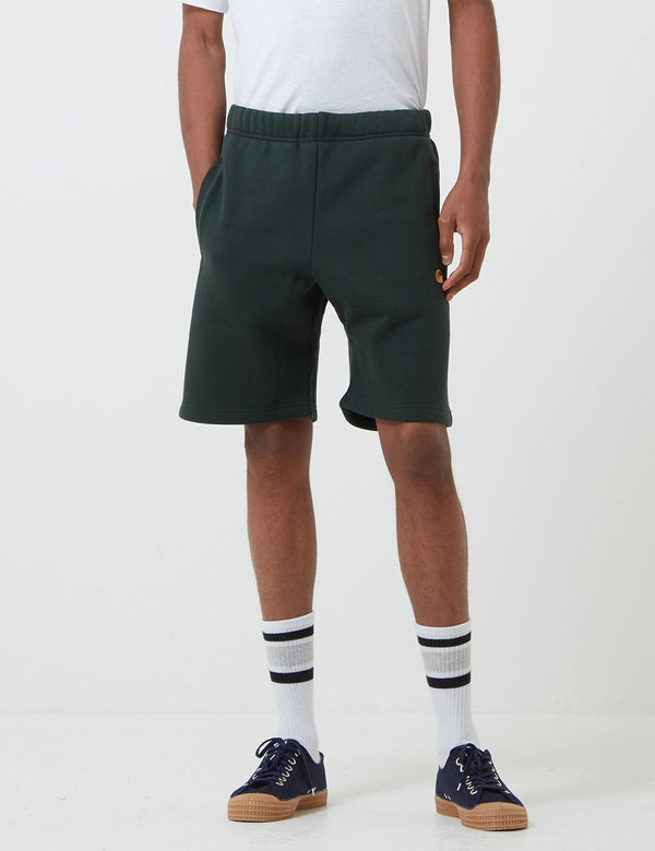 Carhartt-WIP Chase Sweat Shorts - Loden/Gold