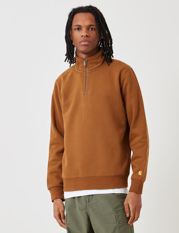 Carhartt Chase Quarter-Zip High Neck Sweatshirt - Hamilton Brown
