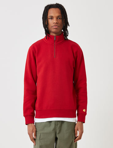 Carhartt Chase Quarter-Zip High Neck Sweatshirt - Blast Red