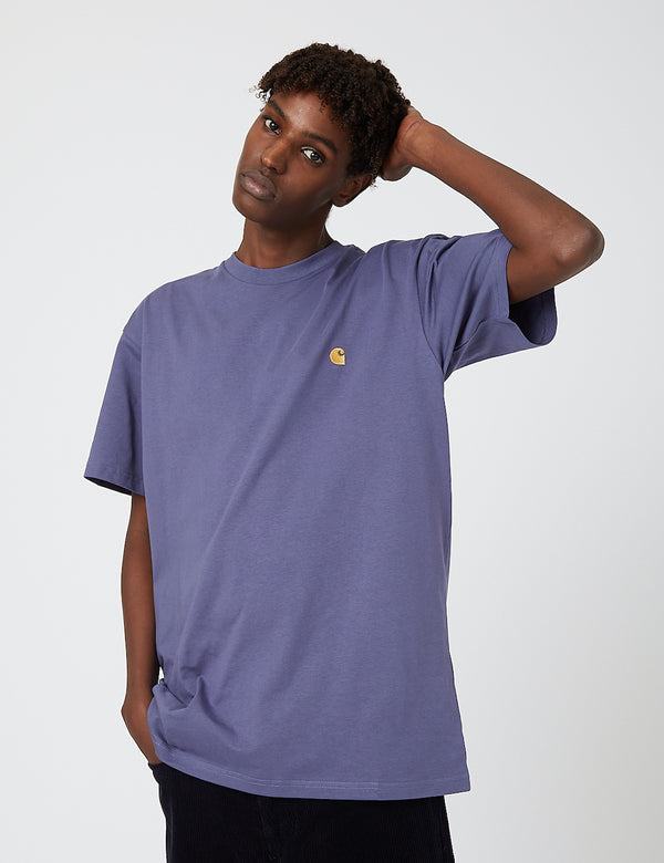 Carhartt-WIP Chase T-Shirt - Cold Viola/Gold