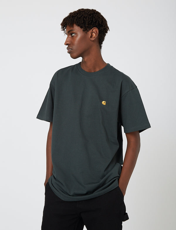 Carhartt-WIP Chase T-Shirt - Dark Teal/Gold
