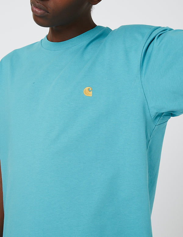 Carhartt-WIP Chase T-Shirt - Frosted Turquoise/Gold