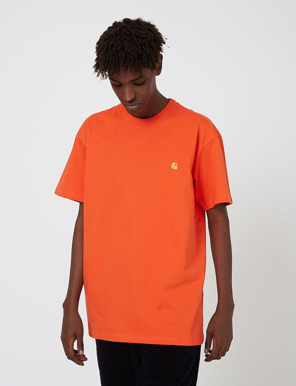 Carhartt-WIP Chase T-Shirt - Safety Orange/Gold