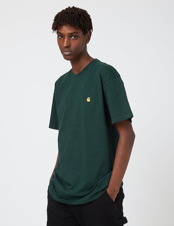 Carhartt-WIP Chase T-Shirt - Bottle Green/Gold