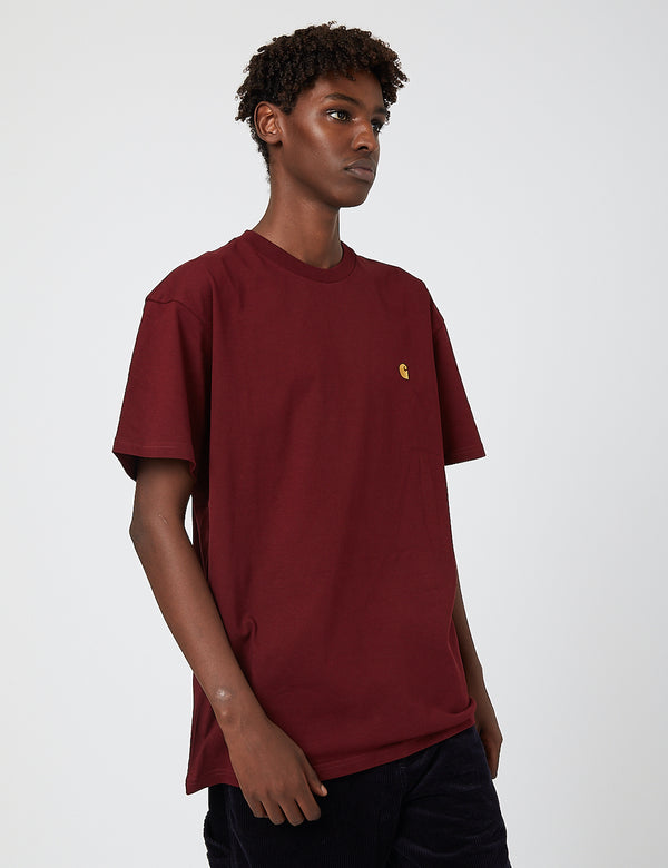 Carhartt-WIP Chase T-Shirt - Bordeaux/Gold