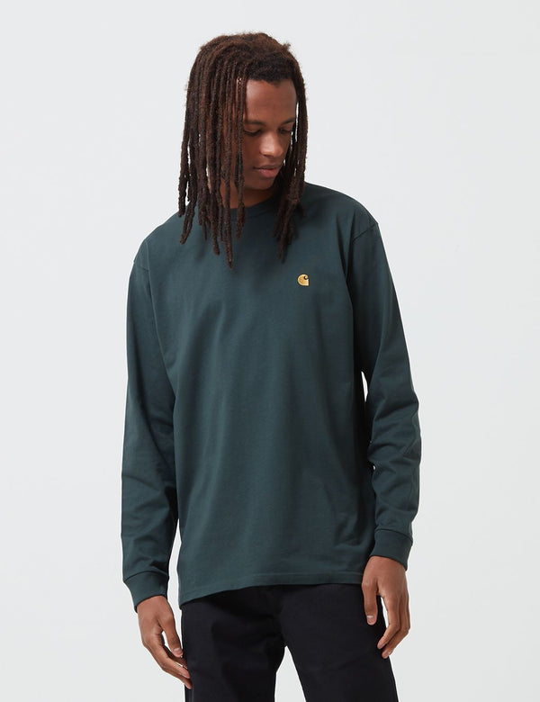 Carhartt-WIP Chase Long Sleeve T-Shirt - Dark Teal/Gold