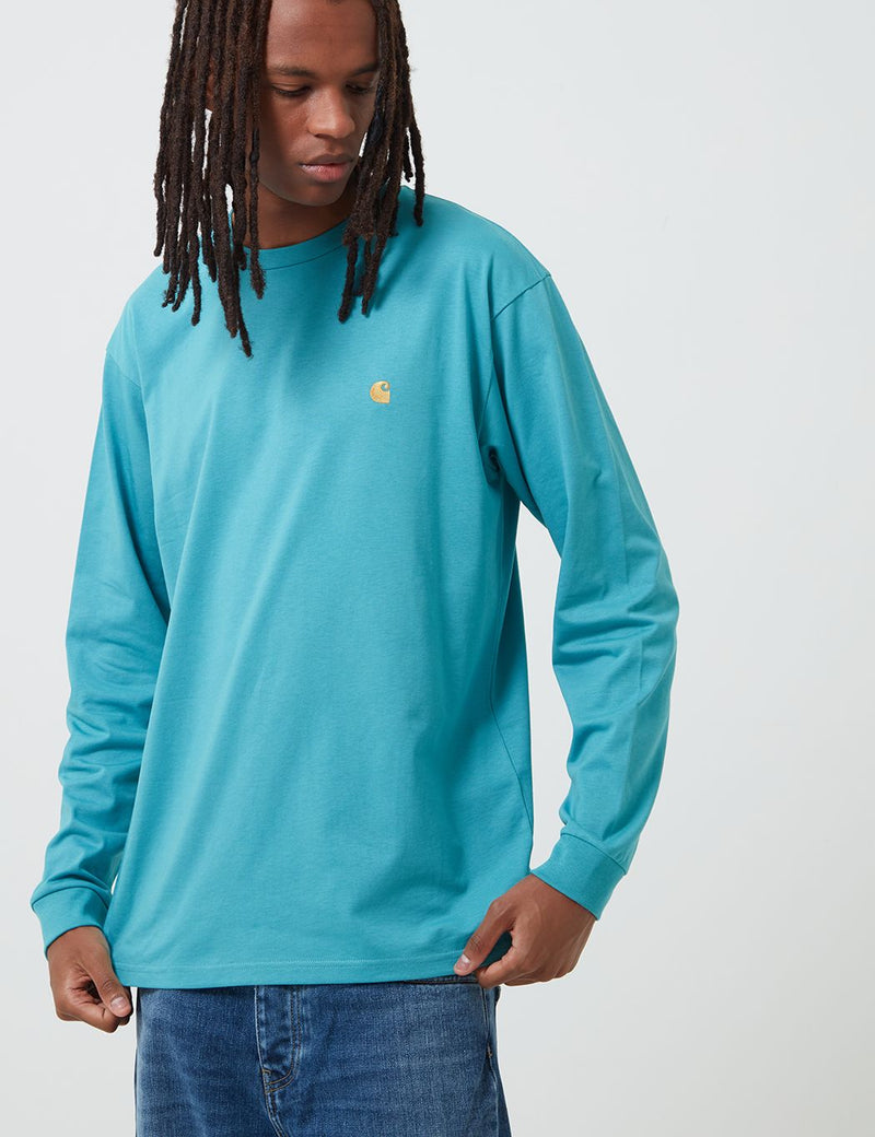 Carhartt-WIP Chase Long Sleeve T-Shirt - Frosted Turquoise/Gold