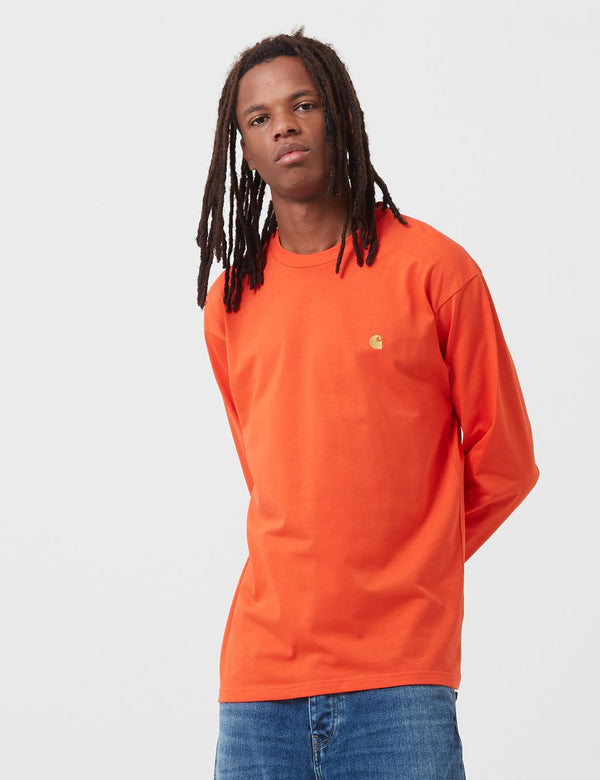 Carhartt-WIP Chase Long Sleeve T-Shirt - Safety Orange/Gold