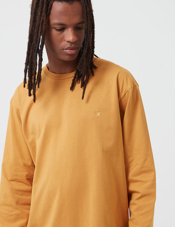 Carhartt-WIP Chase Long Sleeve T-Shirt - Winter Sun/Gold