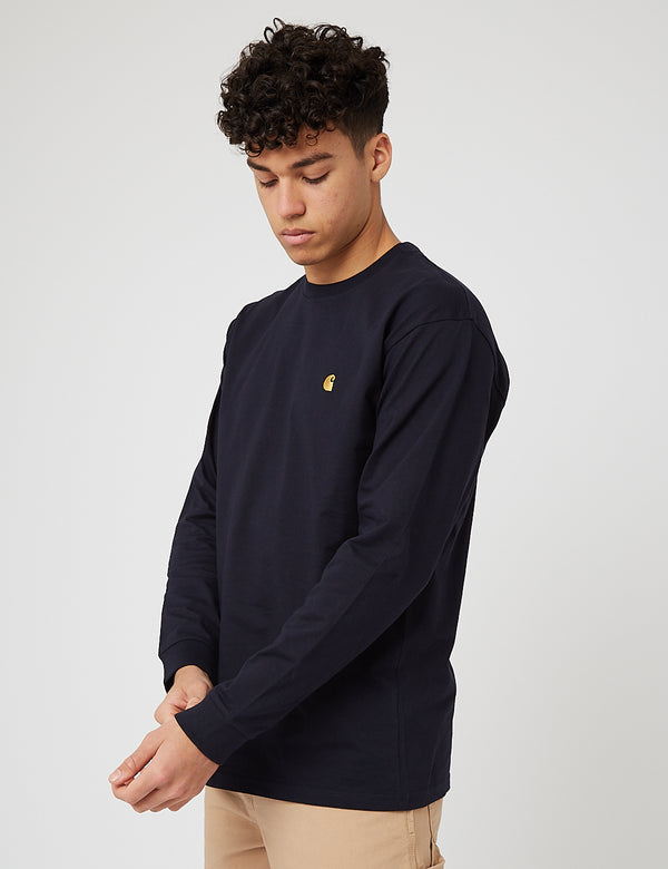 Carhartt-WIP Chase Long Sleeve T-Shirt - Dark Navy Blue/Gold