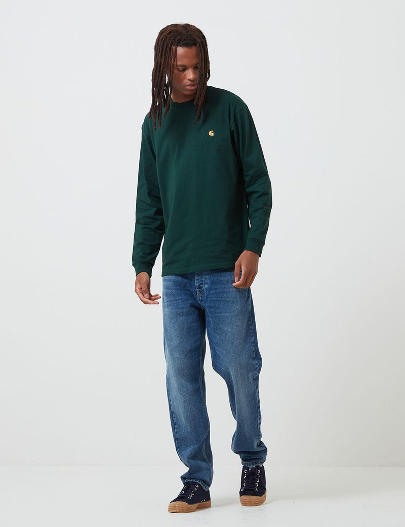 Carhartt-WIP Chase Long Sleeve T-Shirt - Bottle Green/Gold